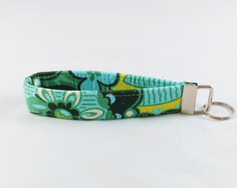 Key Fob Wristlet, Green, Blue, Yellow and White Key Chain
