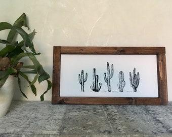 Boho Wood Sign Five cactuses