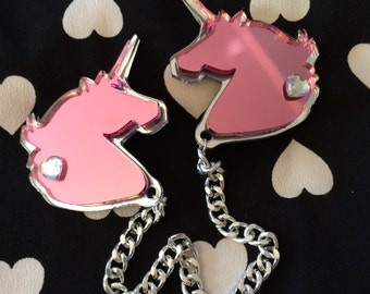 Pink and Silver Unicorn Collar Clip, Laser Cut Acrylic, Plastic Jewelry