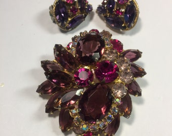 Vintage Purple Fuschia and Pink Brooch and Earrings