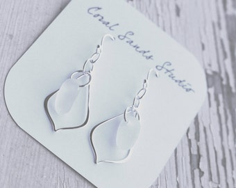 White Sea Glass Dangle Earrings