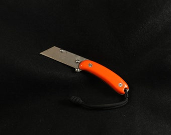Custom Titanium EDC Kiridashi Utility Knife w/ Orange G10 Handle