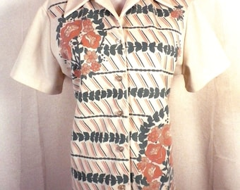 vtg 60s 70s ReTrO loud Muted Earth Tone Floral Button Down Blouse Shirt Top 42