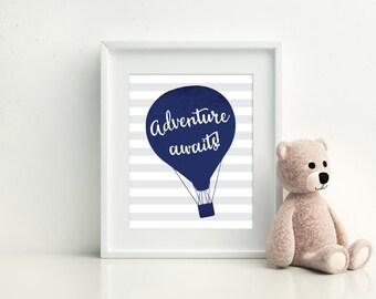 Hot Air Balloon Nursery - Nursery Decor - Adventure Awaits - Hot air balloon nursery - Kids Room Decor - Nursery Wall Art - Nursery Art