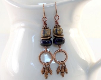 Handmade Blue and Black Copper Earrings, Blue and Black Earrings, Lampwork Earrings, Boho Earrings, Copper Earrings, Dangle Earrings, E103