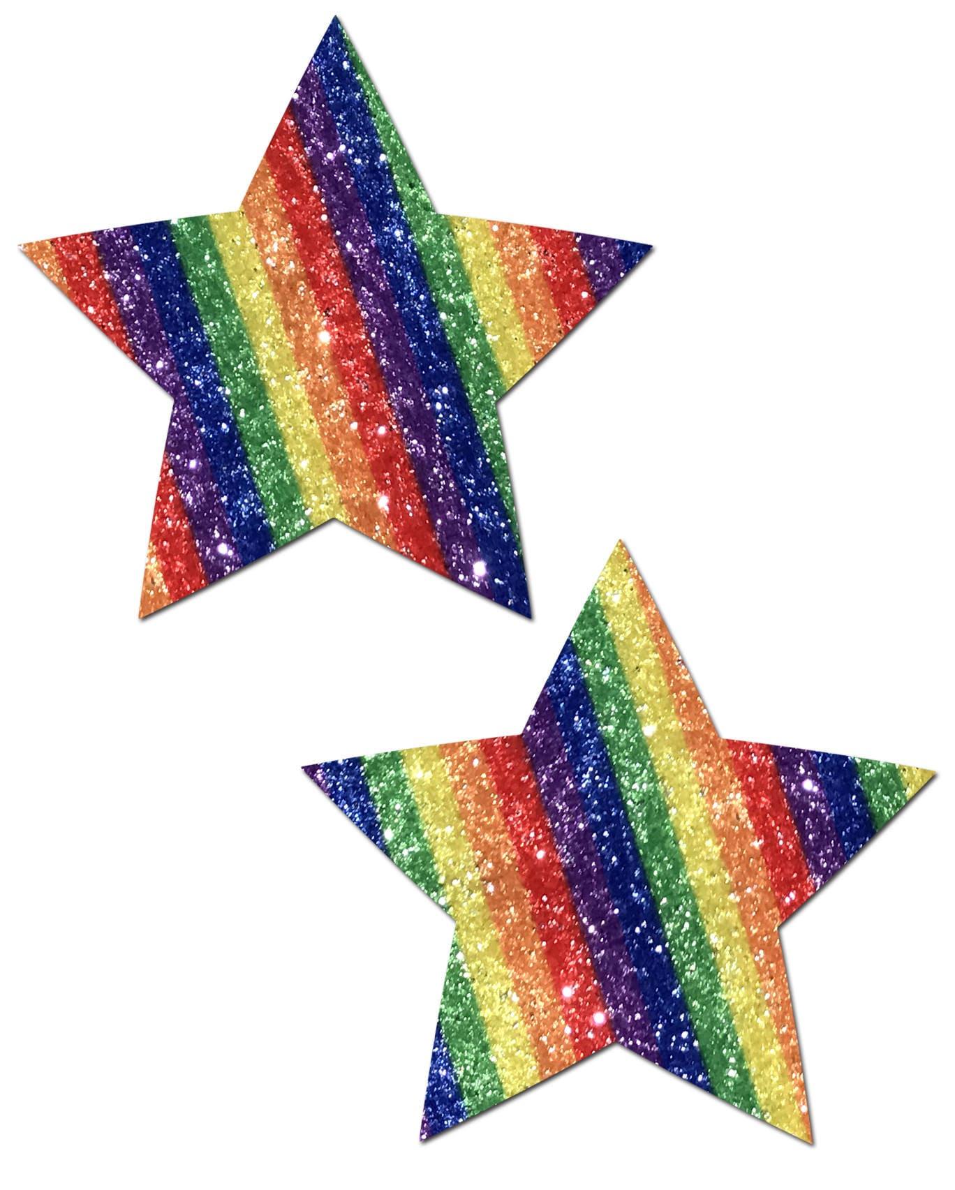 Pasties Rockstar: Glittering Double Rainbow Star Nipple