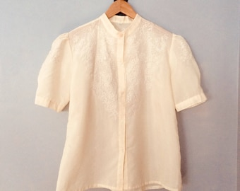 Embroidered Puffy Sleeve Blouse