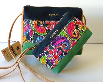 Gift set, embroidered, purses and bags, boho, shoulder bag, cosmetic bag, zipper pouch, wristlet, gift for women, crossbody bags, organic