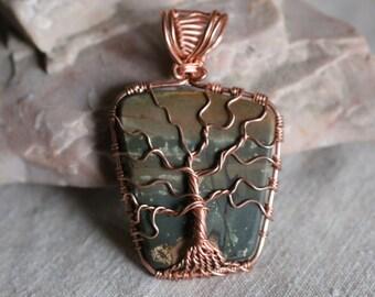 Jasper Tree of Life Pendant with Bright Copper color wire