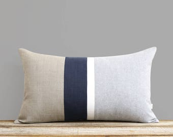 Navy and Gray Chambray Striped Lumbar Pillow (12x20) Modern Home Decor by JillianReneDecor (Custom Colors Available)