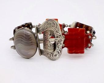 Antique SCOTTISH AGATE BRACELET Sterling Silver Buckle Clasp Agate Panel Link Bracelet