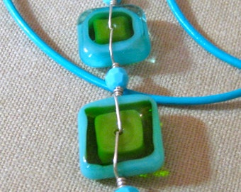 Double Square Long Pop Art Pendent with Cord - P001