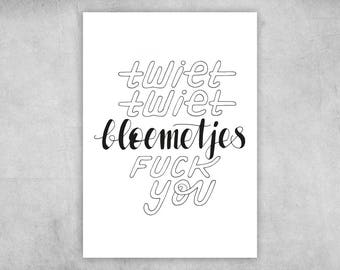 Postcard | Tweet Tweet Flowers f * ck you | A6