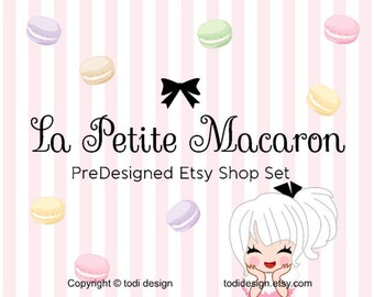 La Petite Macaron- PreDesigned Etsy Shop Banner set with shop cover photo design