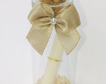 Love Message In a Miniature Glass Bottle with Bow and Rose- Romantic  - Keepsake