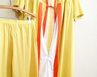 Mod Nylon Pajamas Set Large - 3 Pieces - Yellow Orange Pajamas Pants Robe 1970s