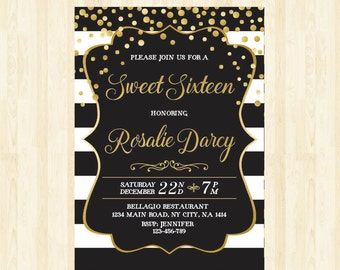 16th birthday invite etsy sweet 16 invitation 16th birthday invite sweet sixteen invitation quinceaera printable invitation black and white invite filmwisefo Image collections