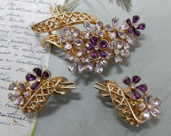 Signed COROCRAFT Two-Tone Amethyst Purple Art Glass Brooch & Earrings Set    OM44