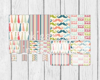 16 Planner Stickers Full Box Half Box Flags Father's Day Planner Stickers Horizontal Vertical Plum Paper PS388