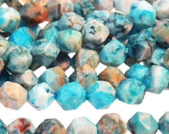 Small Faceted Round Blue Crazy Lace Agate, Star Cut Gemstone Beads, Dyed Blue Agate Beads, Faceted Agate Nuggets, 5-6mm - 30 beads (ST-176)