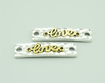 10pcs 9x35mm Antique Silver Love Charm Pendants,Love Connectors,Letters Charms Pendants Connectors LXZ012