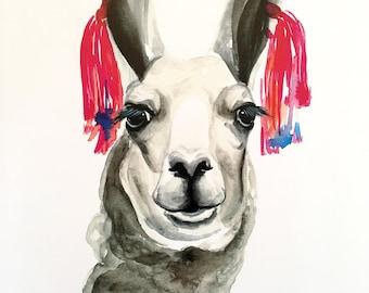 Tasseled Llama Watercolor PRINT