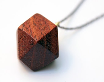 Geometric wood necklace, wood necklace, faceted wood necklace, minimalist wood necklace, red necklace, geometric necklace, christmas gift