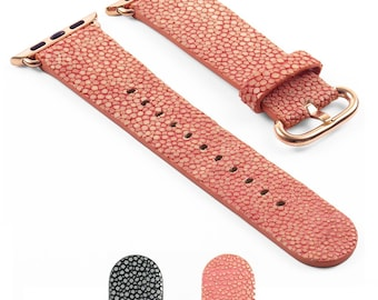 DASSARI Genuine Polished Stingray iWatch Band Strap for Apple Watch w/ Rose Gold Buckle 38mm 42mm