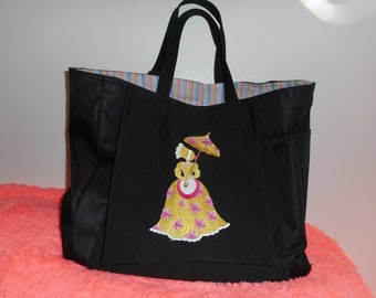 Umbrella Girl Tote Bag, Black Bag, Embroidered Tote Purse