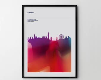 LONDON City Skyline Cityscape Art Print Poster Places Abstract
