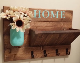 Key Holder,  Rustic Home Decor, Key Rack, Home Sign,  Mail Holder, Mail Organizer,  Home sign, House warming, Hostess gift, Coat rack,