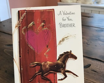 Vintage Card, Valentines Card for Brother, Horse (B551)