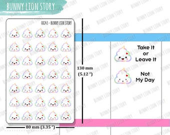 00243 | 35 Kawaii Cute Rainbow Unicorn Poo Sh*t Bad Day Not Happy Get Things Done Today Sticker Planner Agenda Memory Journal