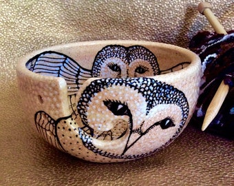 Jumbo White Mica Barn Owl Yarn Bowl Hand Painted Pottery with Four Yarn Channels Full Color