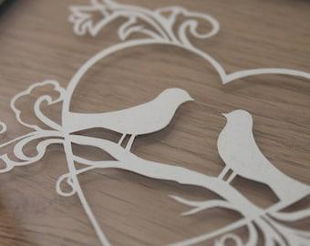 Love Birds - Paper Cut - Framed Artwork - Paper Anniversary - Wedding