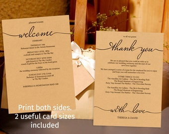 Printable rustic style wedding schedule template, wedding weekend itinerary template, welcome and thank you card | favor bag guest welcome