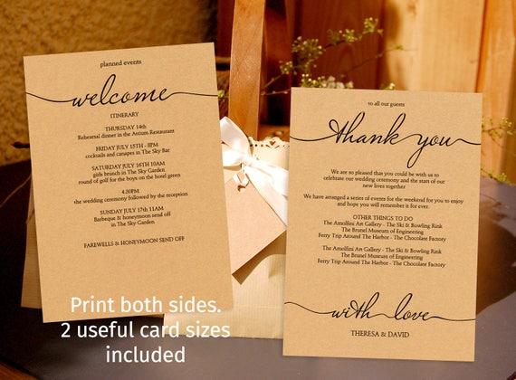 Printable Rustic Style Wedding Schedule Template Wedding