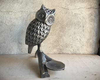 Large Pewter Owl Candleholder, Owl Gift, Owl Decor, Accent Piece, Teacher Gift