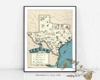 TEXAS MAP Print Digital Download - printable vintage state map for framing, totes, pillows & cards - lovely fun pictorial map art