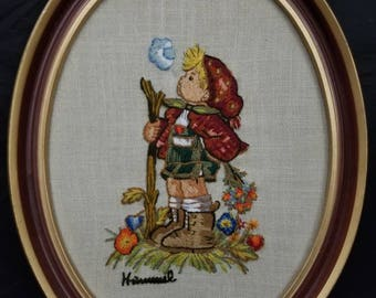 Vintage 1970's Hummel Handmade Embroidered oval framed picture