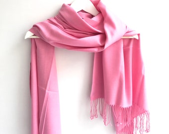 Pink Wedding Shawl, Candy Pink Quality Soft Pashmina, Taffy Wrap, Pink Bridesmaids Pashmina, Punch Pink Bridal Shawl, Flower Brooch Pin