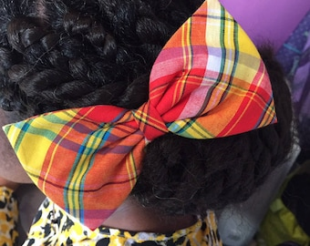 Big bow tie red madras fabric