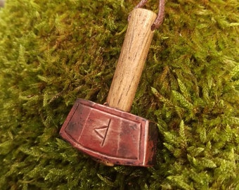 Beautiful hand forged copper Thor's hammer (Mjolnir) pendant medieval fantasy larp steampunk cosplay anglo saxon viking
