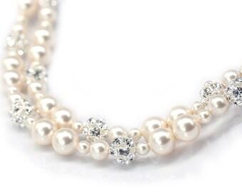 Rhinestone and Ivory Pearl Bridal Bracelet, Double Strand Wedding Bracelet, Swarovski Pearl Bridal Jewelry, Ivory Pearl or White Pearl