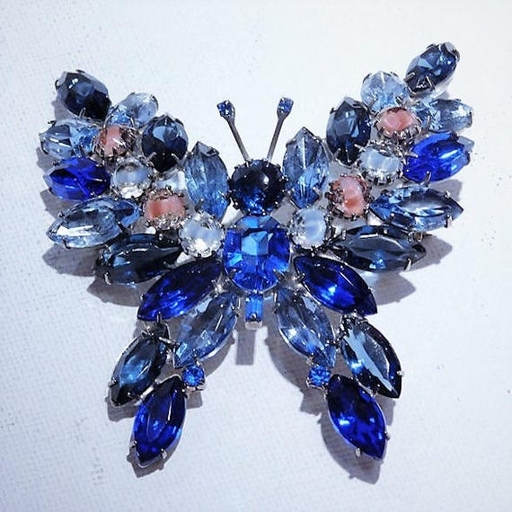 Kenneth Lane Rhinestone Butterfly Brooch / KJL