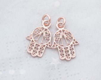 2 of 925 Sterling Silver Rose Gold Vermeil Style  Hamsa , Hand Of Fatima Charms 11x14 mm.  :pg0442