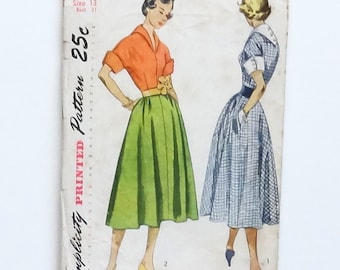 Vintage 1950 Simplicity Junior or Misses One-Piece Dress Pattern #3241 - Size 13 (Bust 31 - Waist 25 1/2) - Cut and Complete