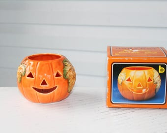 Vintage Brinn's Harvest Pumpkin- Jack o Lantern- Candle Cup -Planter-With Box