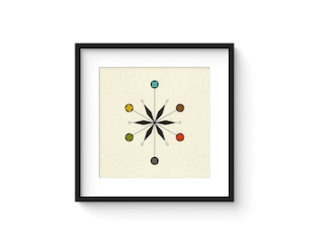 STAR - Square Version - Giclee Print - Mid Century Modern Danish Modern Minimalist Cubist Modernist Abstract Eames