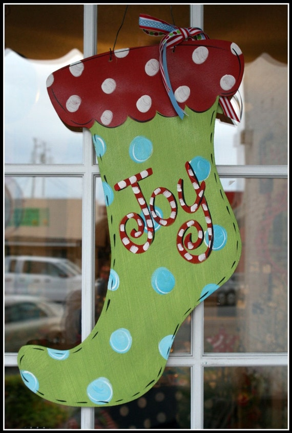 Items similar to Christmas Door Decor Hand Painted ...